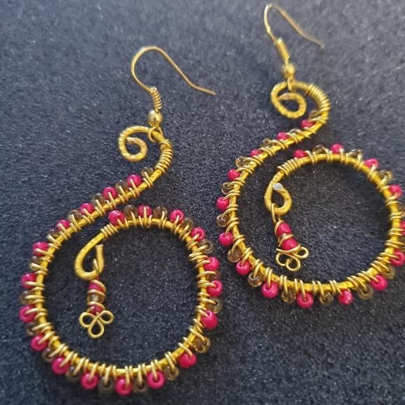 Boho wire wrapped gold dangle earrings